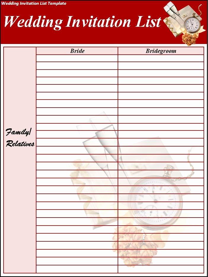 Wedding Invitation List Template Excel Pdf formats