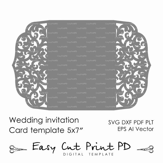"Wedding Invitation Pattern Card 5x7"" Template Lace Folds"