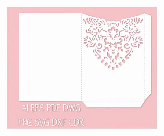 Wedding Invitation Pocket Envelope 5x7 Template Cutting