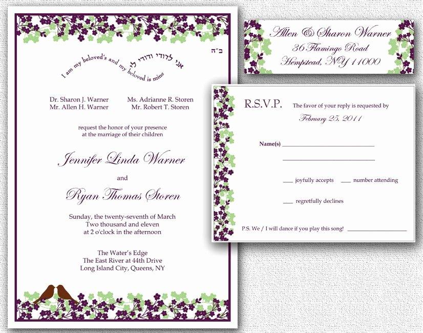 Wedding Invitation Rsvp Card & Return Address Labels