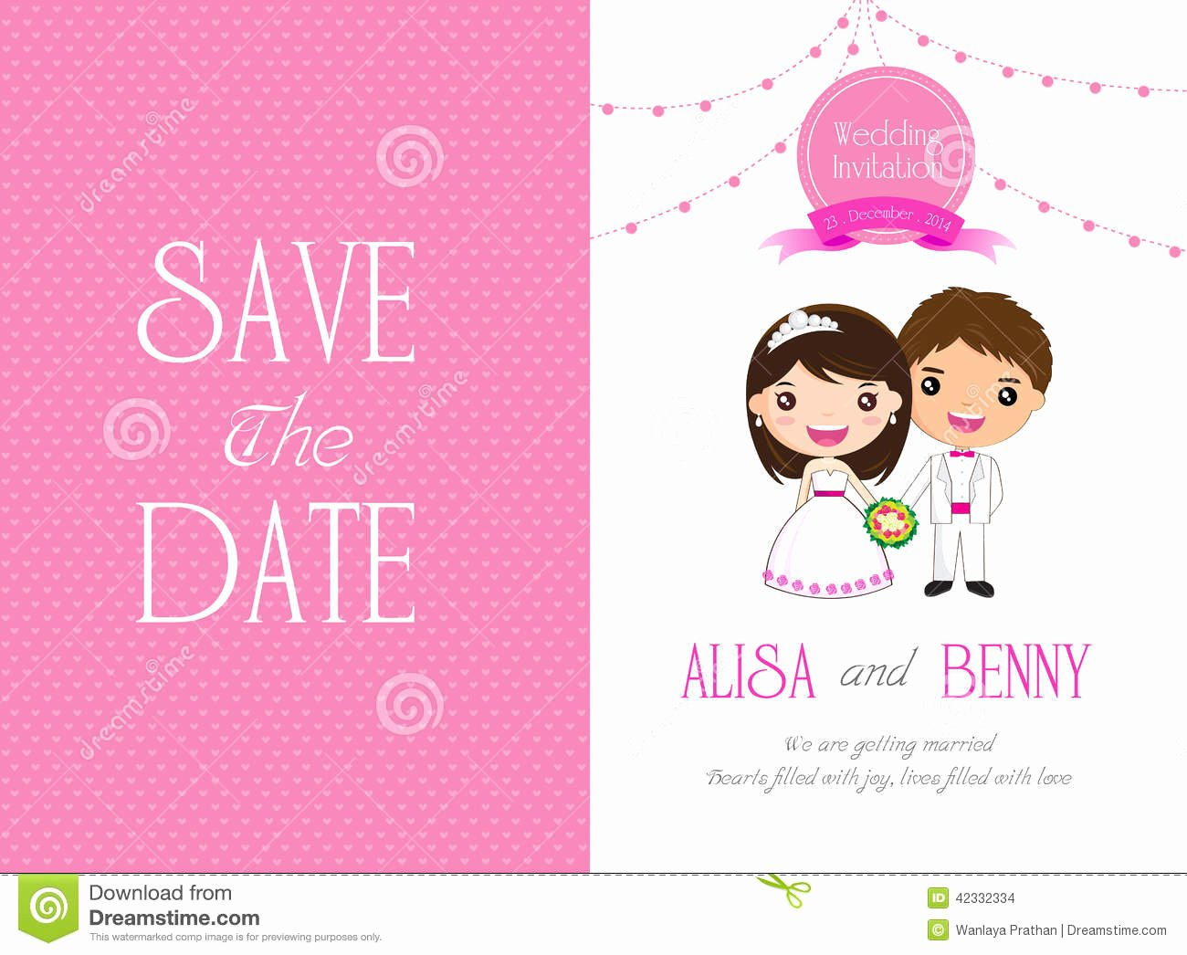 Wedding Invitation Template Card Cartoon Stock Vector