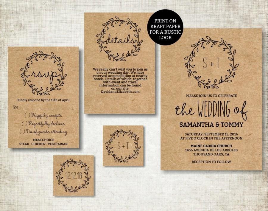 Wedding Invitation Template Classic Wreath Wedding Invite