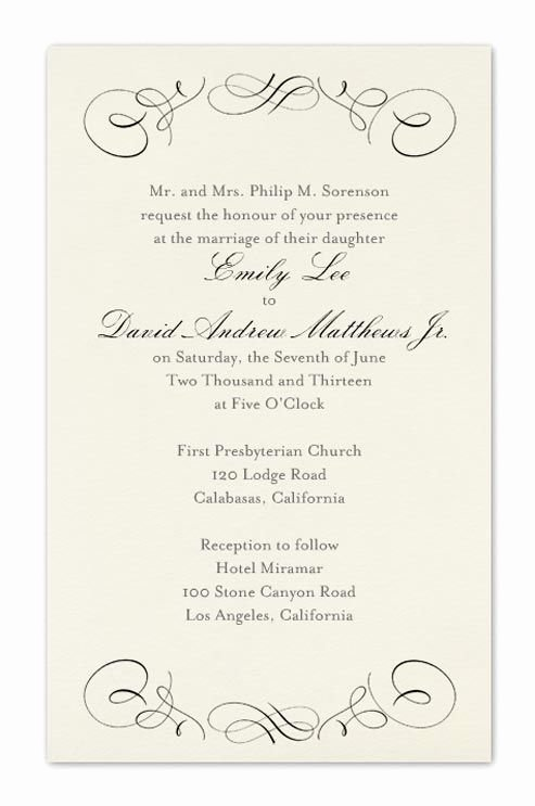 Wedding Invitation Template formal Wedding Invitation