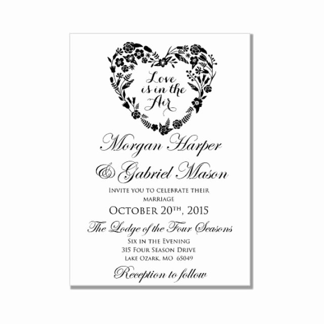 Wedding Invitation Template Love is In the Air Heart