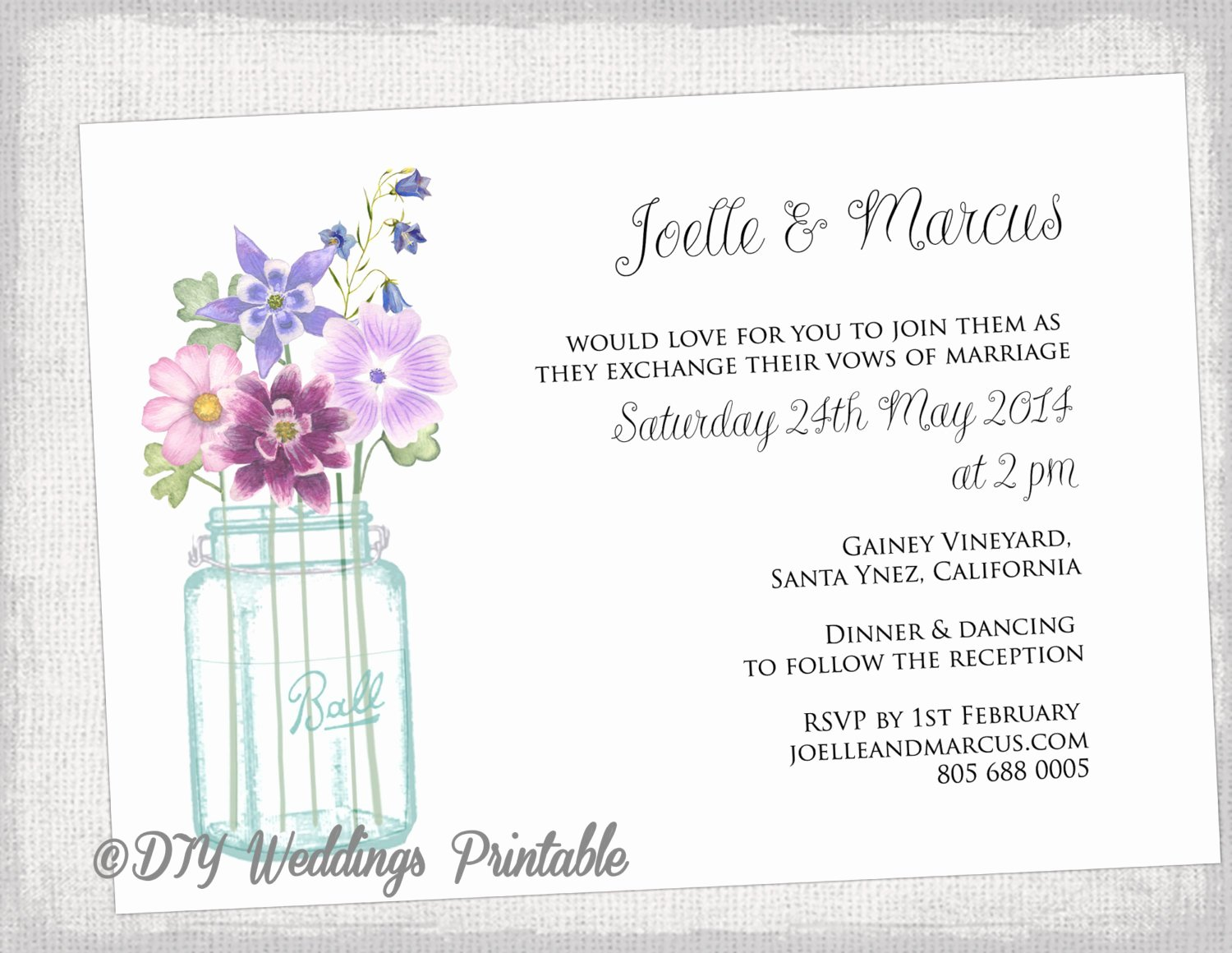 Wedding Invitation Template Mason Jar Printable