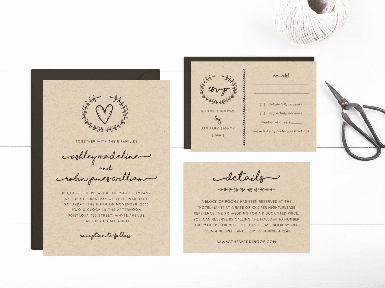 Wedding Invitation Template Printable Editable Text and