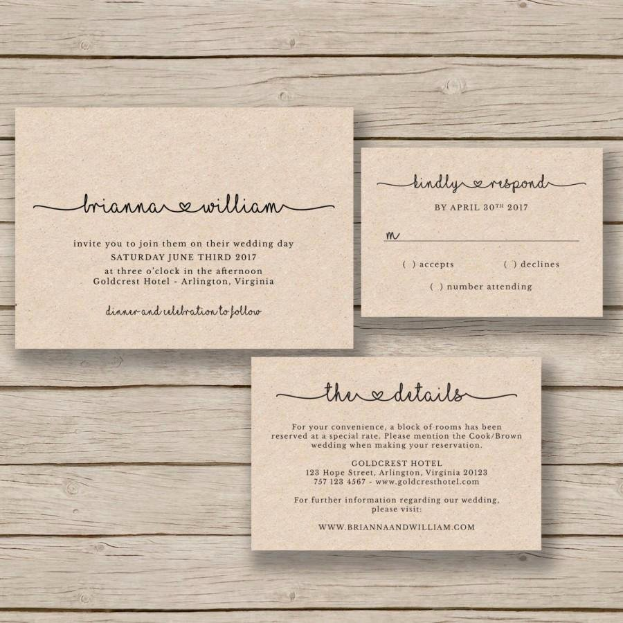wedding invitation template rustic wedding printable editable by you in word print on kraft diy invite