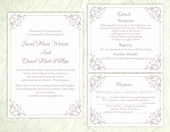 Wedding Invitation Template Set Editable Word File Instant