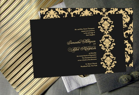 Wedding Invitation Templates Black and Gold Wedding