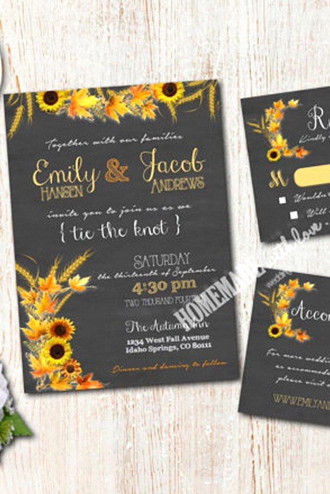 Wedding Invitation Templates Sunflower Wedding Invitations