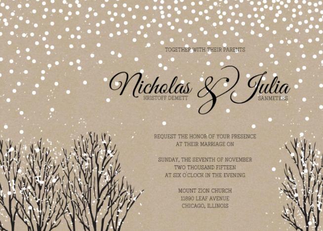 Wedding Invitation Templates Winter Wonderland Wedding