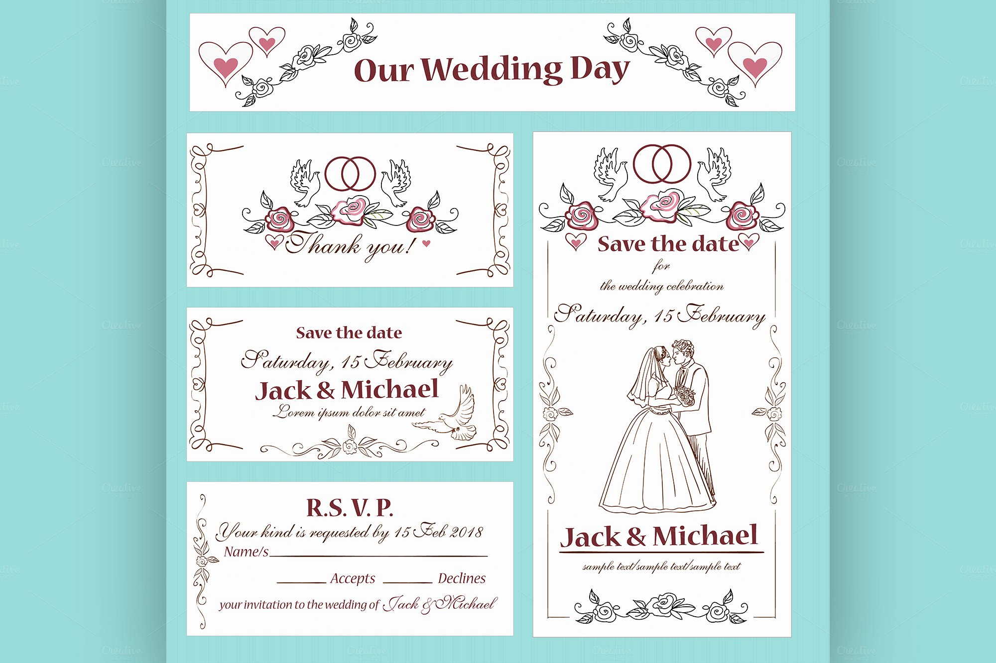 Wedding Invitation Thank You Card Flyer Templates On