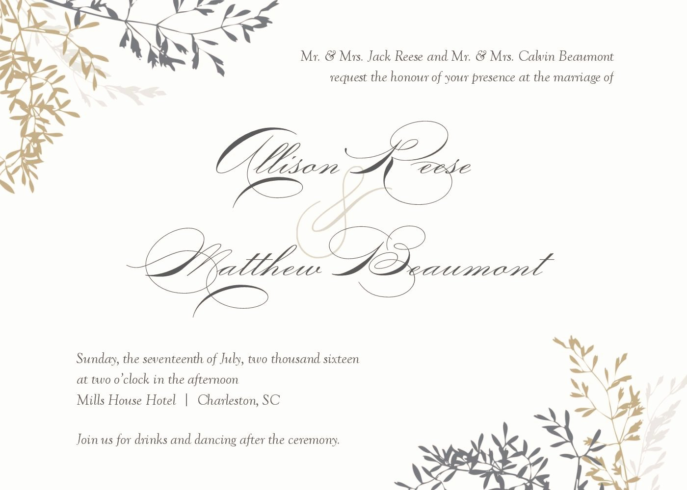 Wedding Invitation Wedding Invitations Template Superb