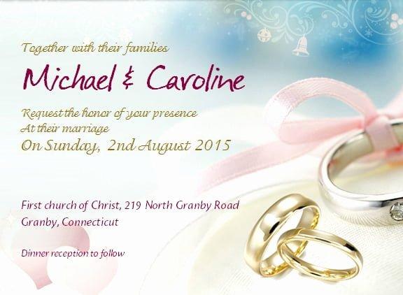 Wedding Invitation with Sample Wording