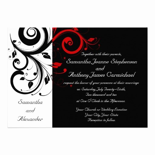 Wedding Invitation Wording Black White and Red Wedding Invitation Templates