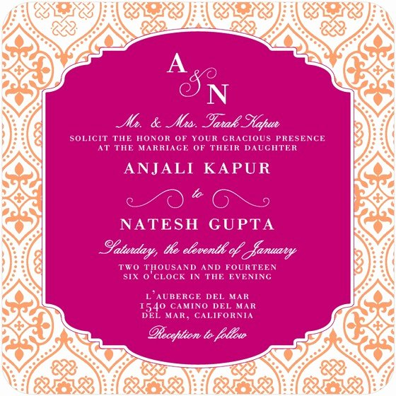 Wedding Invitation Wording Etiquette Indian Wedding