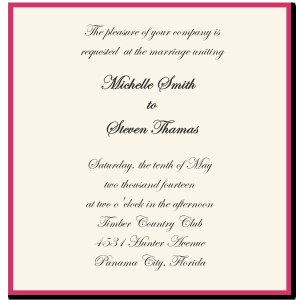 Wedding Invitation Wording Ideas Template