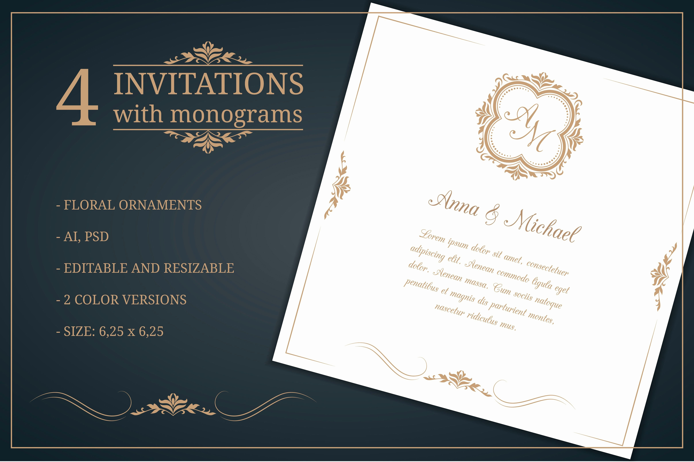 Wedding Invitations with Monograms Invitation Templates