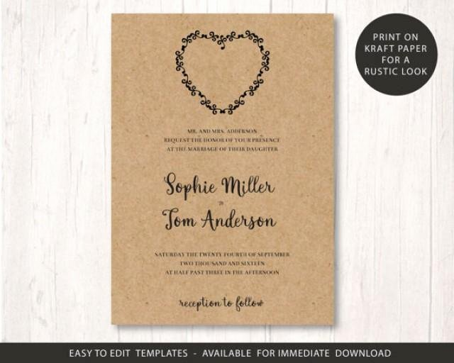 Wedding Invite Template Printable Wedding Invitation Set