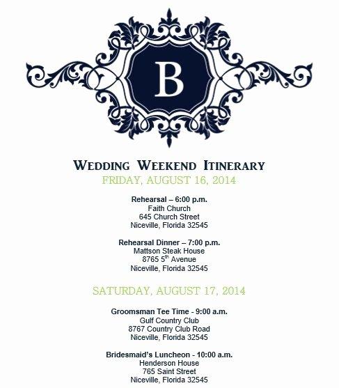 Wedding Itinerary Wedding Itinerary Template Bridetodo