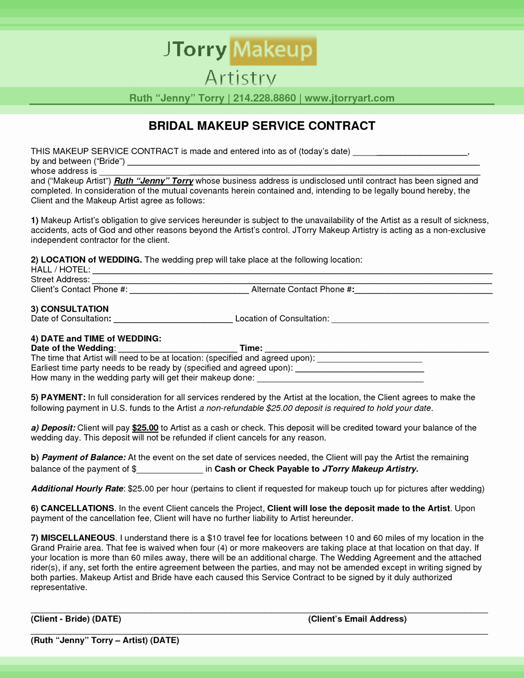 Wedding Makeup Artist Contract Template