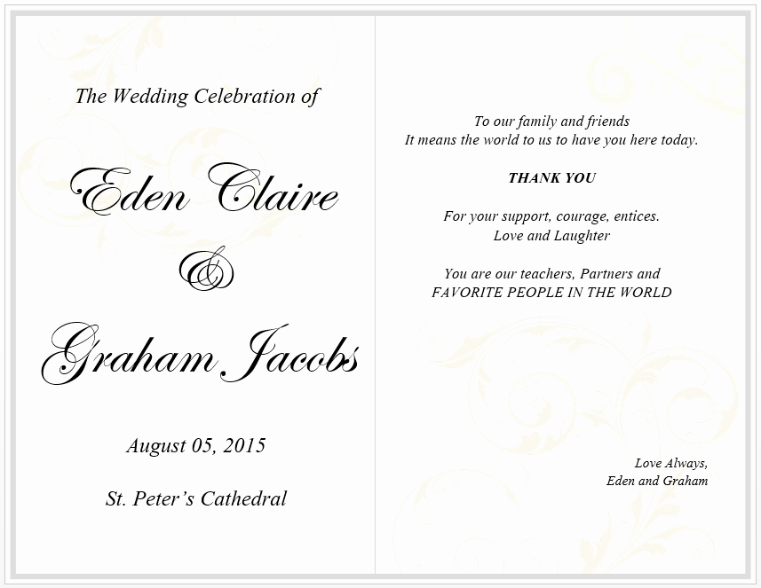 Wedding Menu Card Template Free Template Downloads