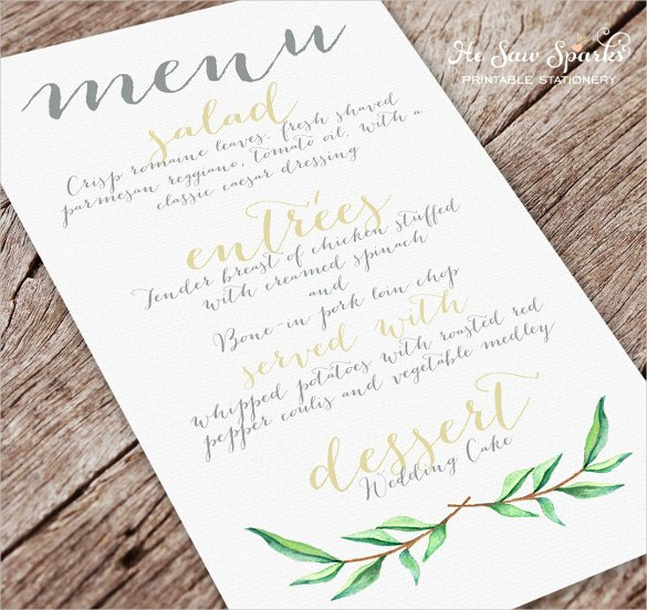 Wedding Menu Card Templates Free Matik for