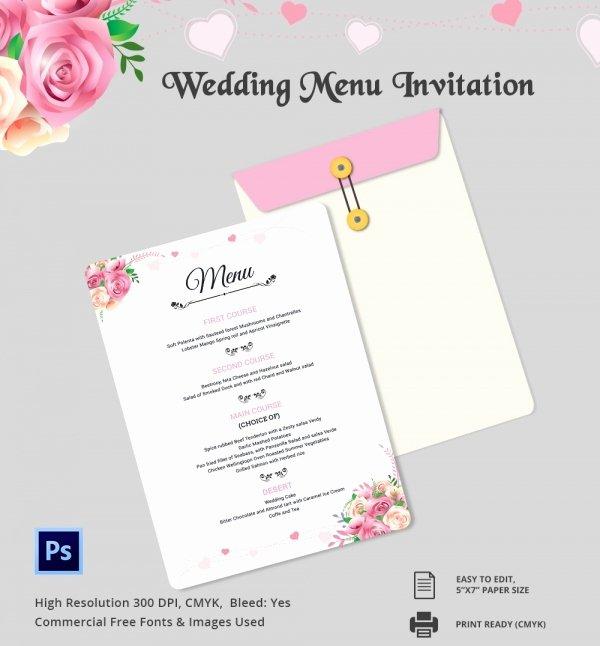 Wedding Menu Template 44 Free Word Pdf Psd Eps