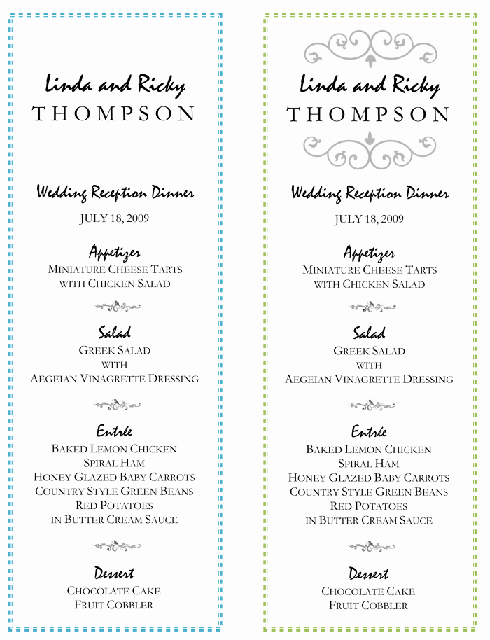 Wedding Menu Template – 5 Printable Designs