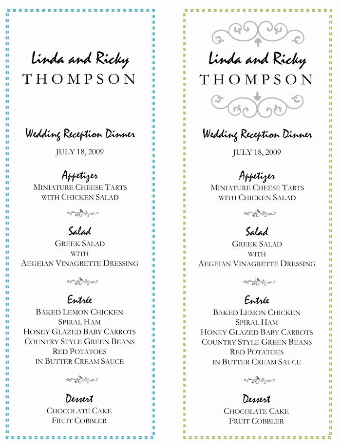 Wedding Menu Template – 5 Printable Designs
