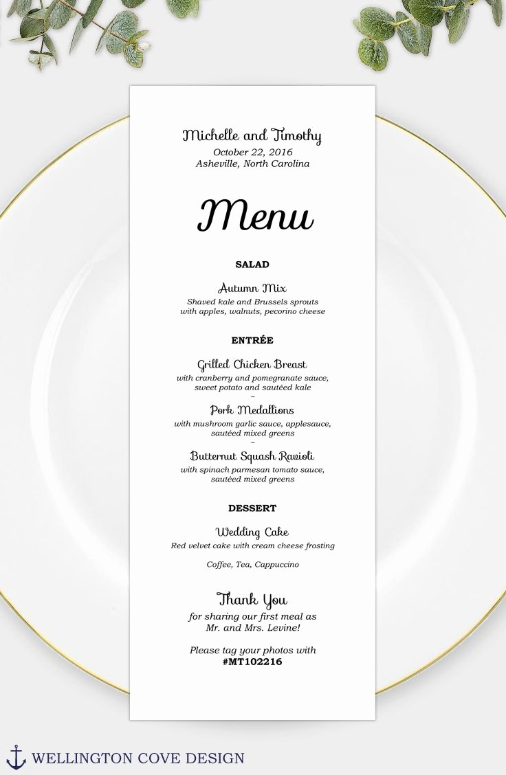 Wedding Menu Template for Microsoft Word • Printable