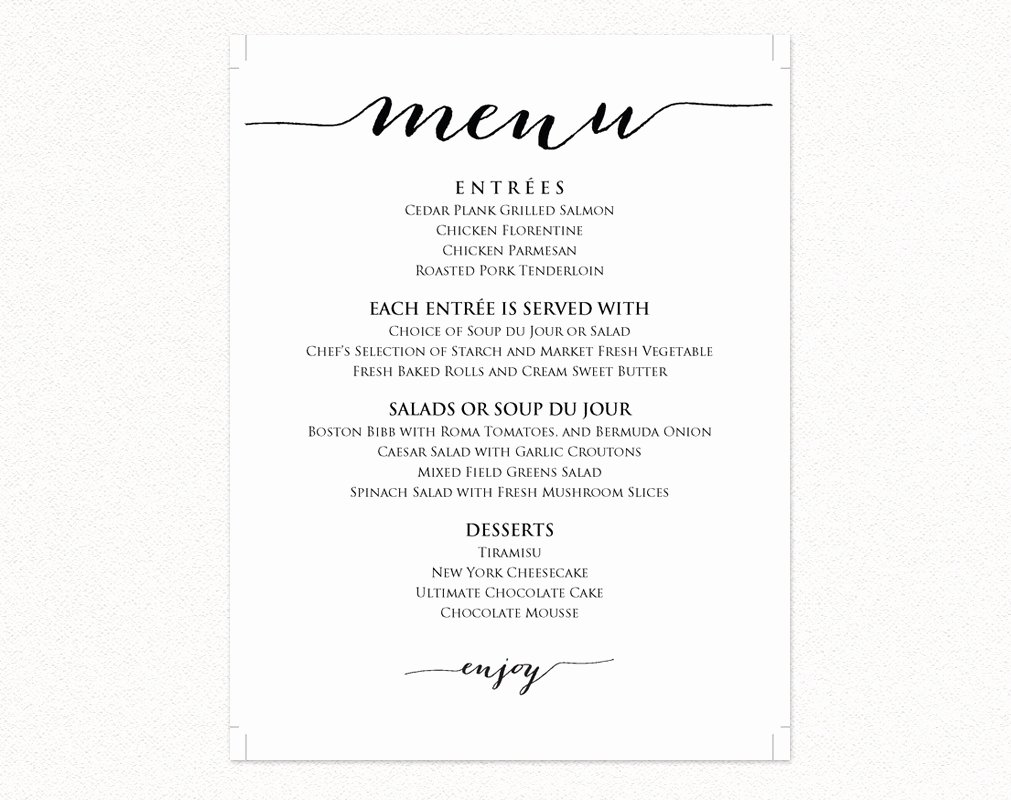 Wedding Menu Templates · Wedding Templates and Printables