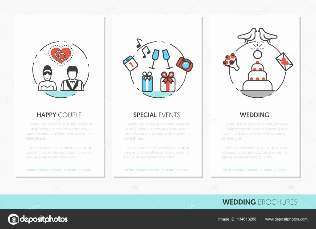 Wedding Party Business Brochure Template with Thin Line