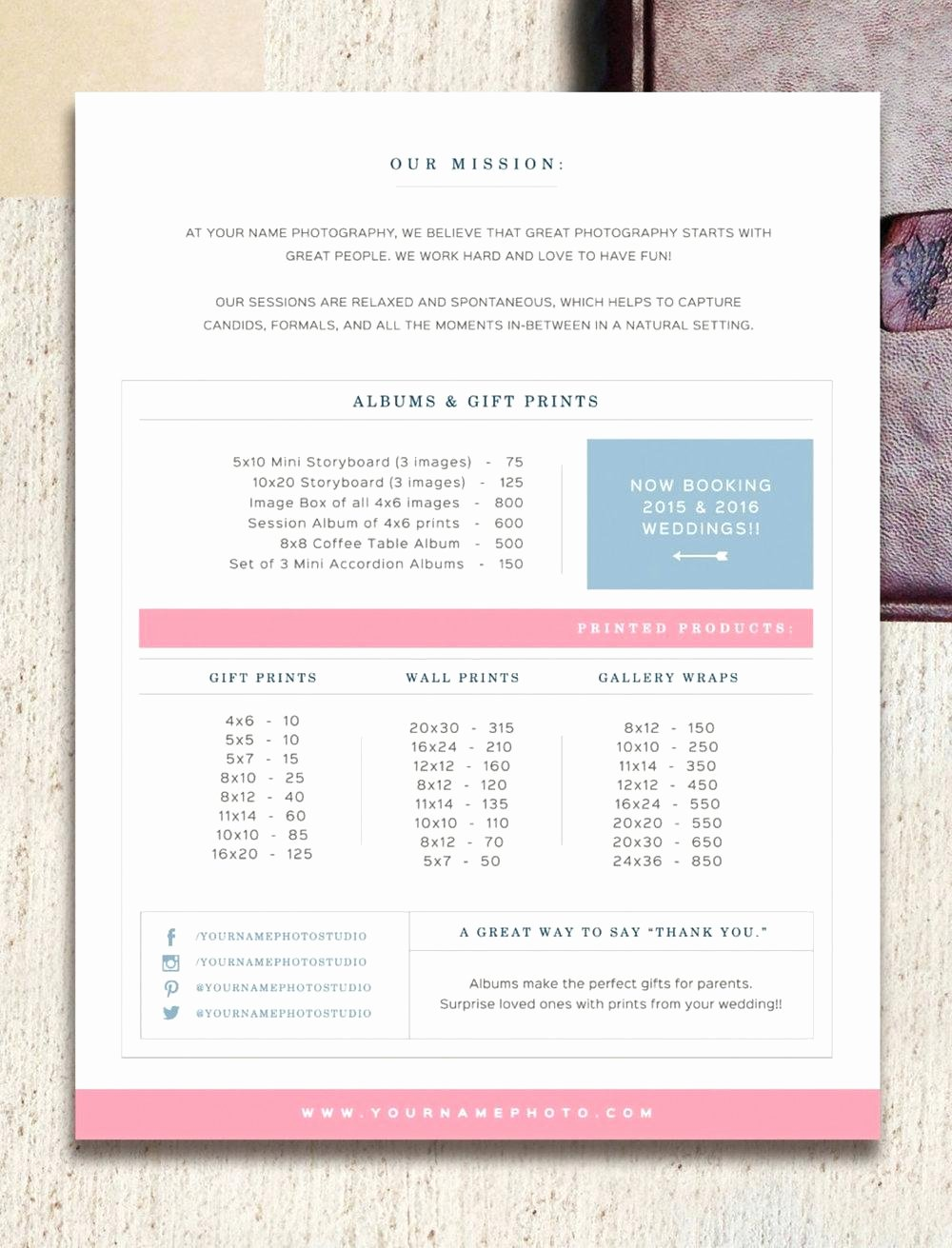 Wedding Photographer Price List Template – Traguspiercingfo