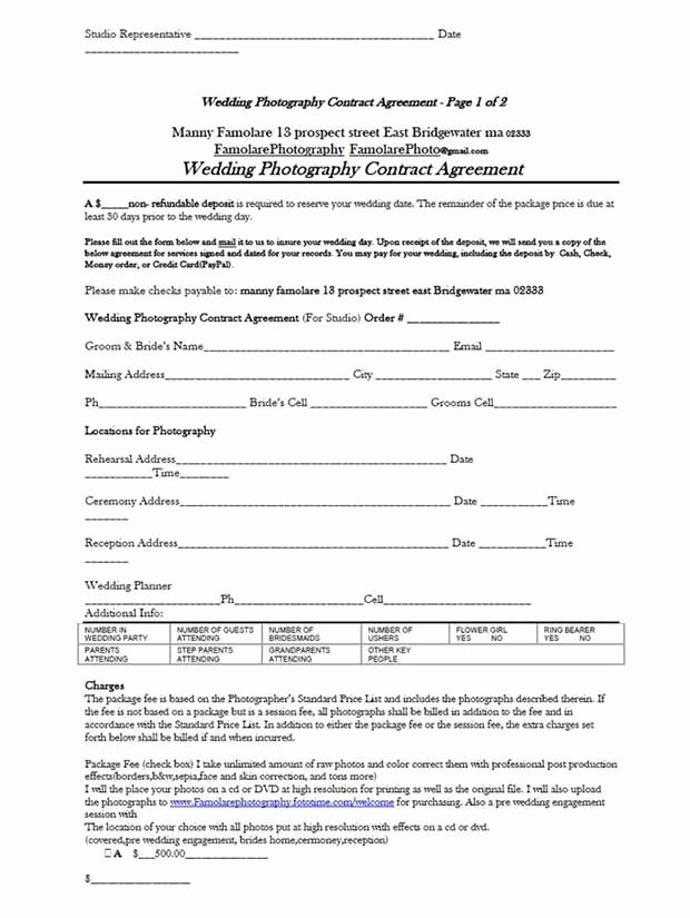 Wedding Photography Contract A Guarantee for Safety