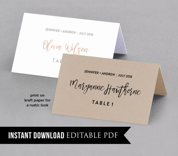 Wedding Place Card Template Table Number Name Card Seating