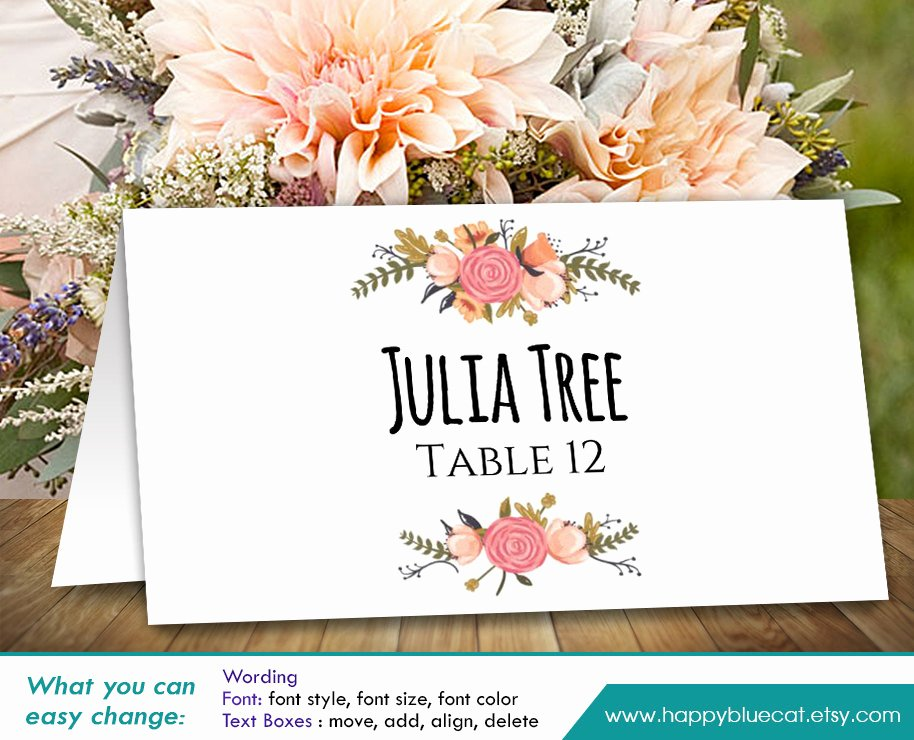 Wedding Place Cards Diy Template Matik for