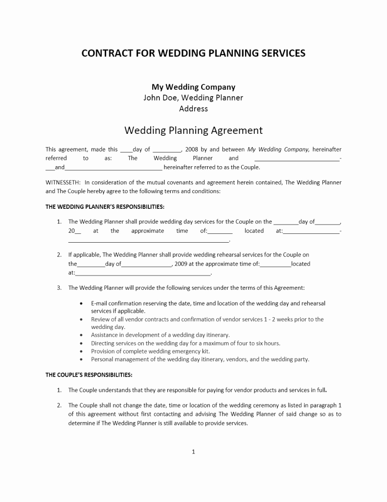 Wedding Planner Contract Sample Word Templates