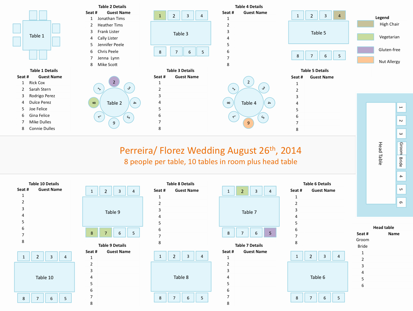 Wedding Planners tools Powerpoint Template for Seating