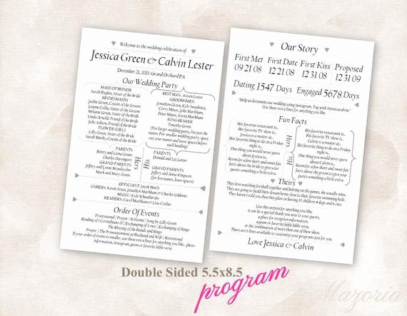 Wedding Program Double Sided Modern Fun Facts Our Story Black