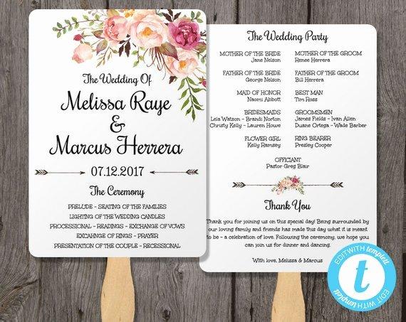 Wedding Program Fan Template Bohemian Floral Instant by