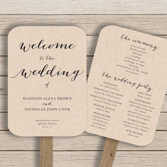 Wedding Program Fan Template Printable by Hopestreetprintables
