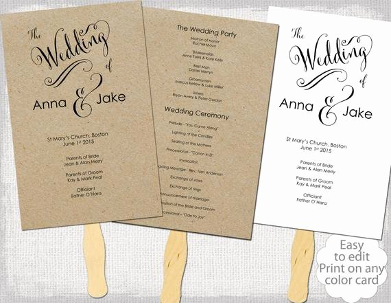 Wedding Program Fan Template Rustic Cantoni