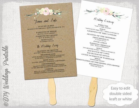 Wedding Program Fan Template Rustic Flowers Diy