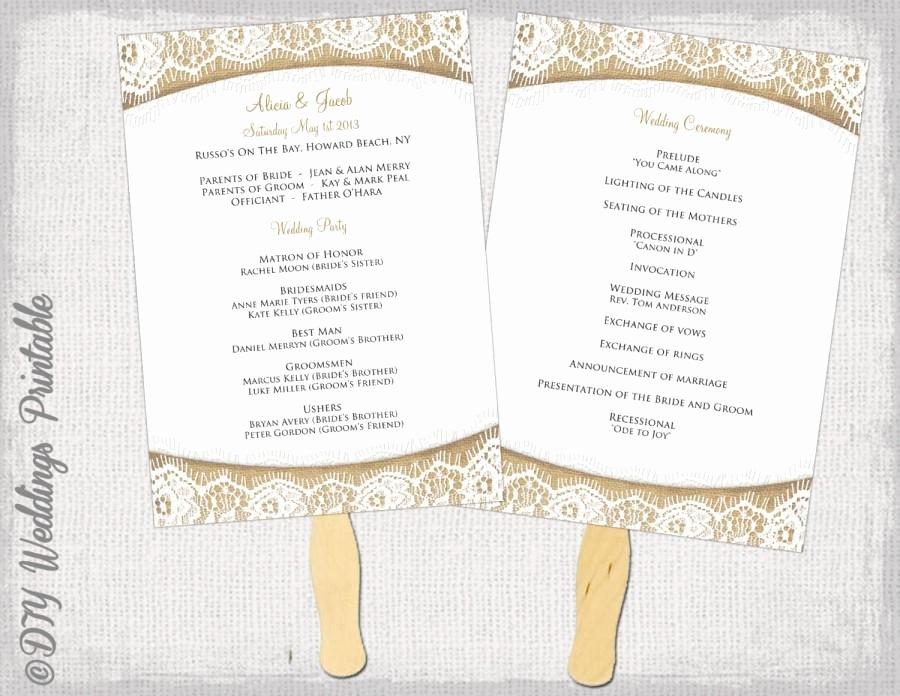 "Wedding Program Fan Template Rustic ""burlap & Lace"" Diy"