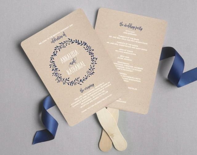 Wedding Program Fan Wedding Program Printable Navy