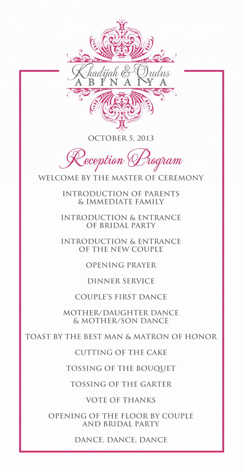 Wedding Program Outline Template
