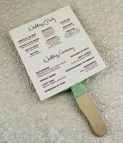 Wedding Program Paddle Fan Template – Matelasse Design