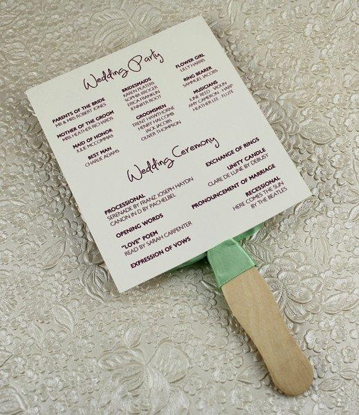 Wedding Program Paddle Fan Template – Matelasse Design