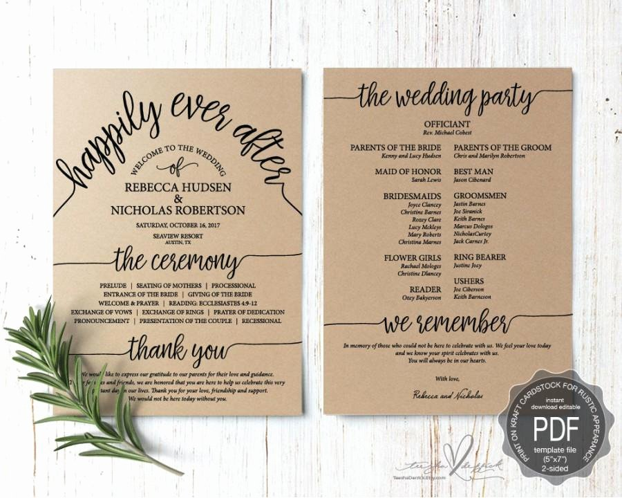 Wedding Program Pdf Card Template Instant Download